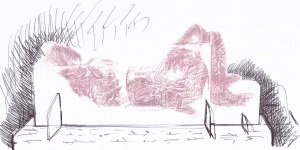 drawing of Gran lying down for paste board